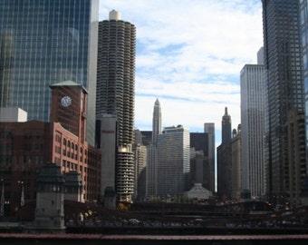 Chicago Bridge-- Fine Art Photography (4x6 BW print)