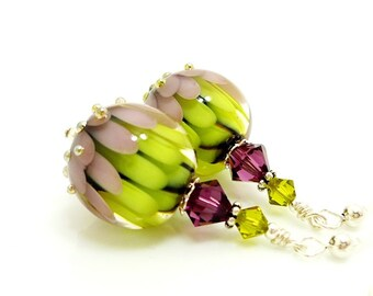 Purple Green Earrings, Lampwork Earrings, Glass Bead Earrings, Unique Earrings, Glass Art Earrings, Lotus Flower Earrings, Dangle Earrings