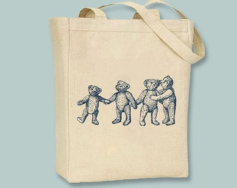 Vintage Teddy Bears Image Canvas Tote  - Selection of sizes, ANY COLOR image