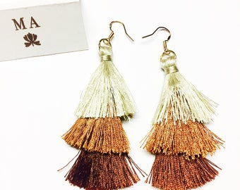 Brown tassle fringe earrings