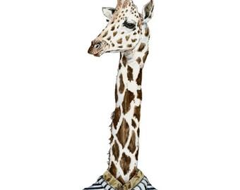 Print Giraffe Giclee print of Giraffe in stripy shirt 8x11