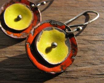 Poppy earrings, Torch-fired enamel poppy earrings, poppies, enamel flower earrings, flower lovers jewelry, flower earrings, colorful earring