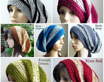 Handmade Long Striped Crochet Slouch hat - made to order