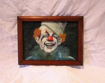 Clown Painting, Vintage Original Oil Painting, Carnival Art, Framed Portrait
