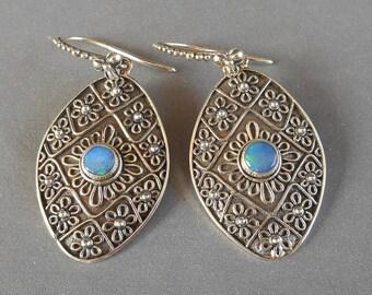Silver sterling opal dangle Earrings / 1.50 inch long / silver 925 / Bali handmade Jewelry