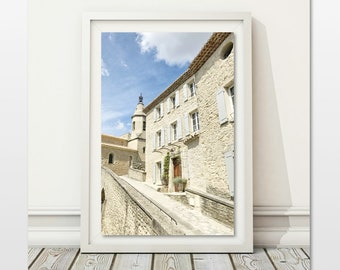 Neutral French Prints Provence Wall Art Image from France Europe Travel Photo Blue Old House Beige Pastel Decor Grunge Rustic Architecture