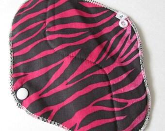 Cloth Mama Pad / Reusable Cloth Pad - Regular Flow  - Pink Zebra Printed 8 Inch FREE Shipping