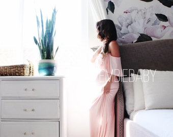 Maternity Gown baby shower photography maternity dress- off shoulder flounce with train