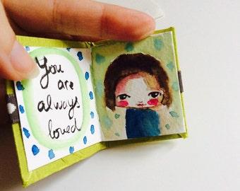Original mini art book keepsake watercolor inspirational words boy girl green blue st Valentine's Day gift