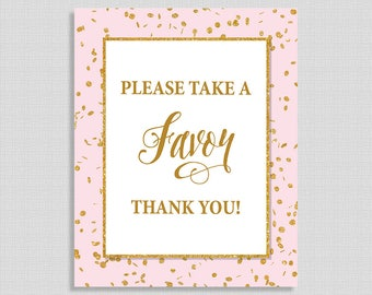 Pink and Gold Favor Sign, Pink & Gold Glitter Confetti Shower Sign, Baby Girl Favor Sign, INSTANT PRINTABLE
