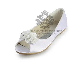 Alice - Peep toe Ivory/ white Ballerina Flat Shoes Size US 4 5 6 7 8 9 10 11 12