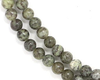 CLEARANCE. Green + Gray Lined Jasper Beads - 4mm Round - Full Strand