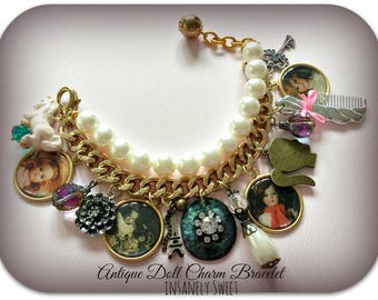 Antique Doll Photograph Charm Bracelet- Pearls