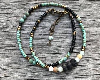 Essential oil diffuser bracelet, beaded bracelet, double wrap bracelet, lava bead bracelet, bracelet diffuser, amazonite bracelet, boho gift