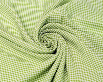 Keira APPLE GREEN Mini Checkered Poly Poplin Fabric by the Yard - 10048