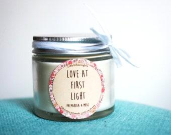 "Bougie parfumée naturelle ""Love at first light"" / Palmarosa & musc"