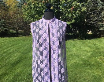 Vintage 70s Lavender Sheer Lace Vest Bolero