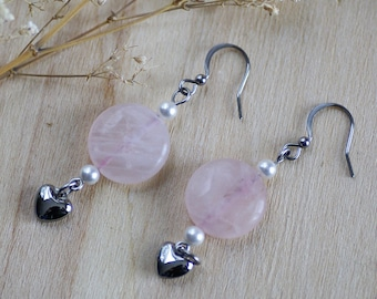 Pink quartz earrings, stainless steel earrings, white freshwater pearl with pink quartz round stone earrings, surgical steel heart