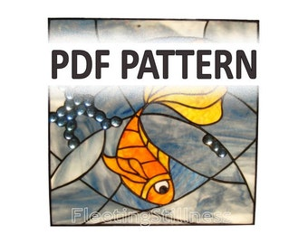 PDF Pattern for Stained Glass - Gold Fish and Blue Wave FleetingStillness Original Design