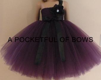 Eggplant Plum and Black Flower Girl Dress, Toddler Formal Dresses, Toddler Gown