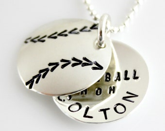 Baseball Mom Personalized Locket - hand stamped and personalized sterling silver faux locket
