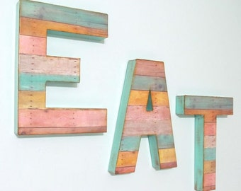 Reclaimed Wood Look - EAT Kitchen Decor, Custom, You choose color/s