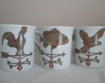 Vintage MUG SET Weathervane Rooster Fish Bird 4 SHAFFORD 1981 Weather Vanes Porcelain