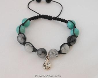 rutile stones amazonite and quartz beaded bracelet