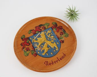 Vintage Dutch Nedeland Coat of Arms Shield - Wooden Netherlands Wall Plaque