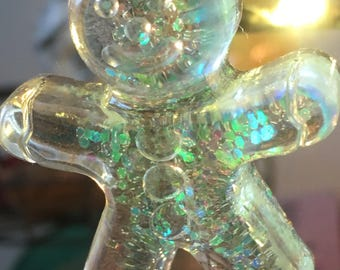 Clear gingerbread man Christmas tree decoration