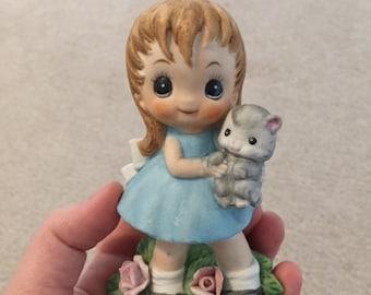 Vintage Ceramic Girl Holding Kitty Figure