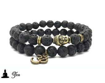Pack Double bracelet / Lava stone Buddha AUM / Yoga Zen Meditation