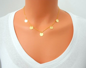 5 Coin Necklace, 14 K Gold Filled Chain, Sterling Silver Chain, Newsroom Inspired, Discs Necklace, Mac Necklace