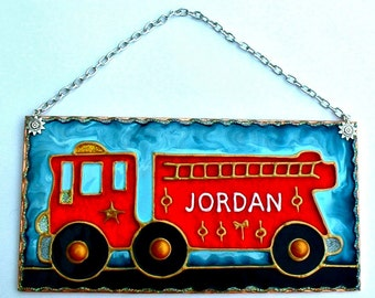 Personalized Firefighter Nursery Decor Fire Engine Wall Hanging Fireman Decor Firetruck Theme Decor Childs Firefighter Sign Fire Truck Decor