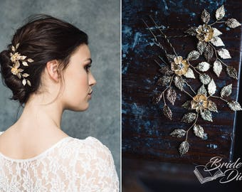 1pc Bridal hair pin, Bridal Hair pins, hair pins with leaves and flower