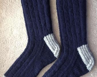 Hand Knit Men's LARGE - XL 100% Wool Heavy Boot, Hiking, Skiing, Snowboarding Socks (B-063)