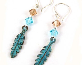 Feather Sterling Silver Verdigris Earrings