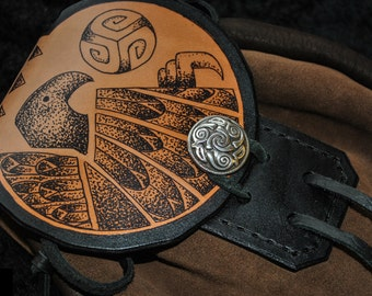 "Sporran style belt/play pouch in brown and black leathers with hand drawn ""Raven"" artwork"