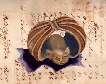 Giclée Print Vintage Netsuke Bat in Gouache