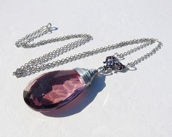 Amethyst Crystal and Purple Rhinestone Necklace // Purple Crystal Prism Necklace // Chandelier Prism Necklace