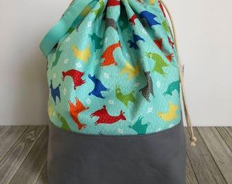 X-Large Turquoise Llama Drawstring Bag | Project Bag | Knitting Bag
