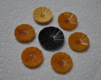 7 Lot Vintage Bakelite Carved Black & Orange Buttons
