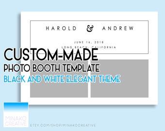 Custom Made Black and White Theme Elegant Wedding Photobooth Photo Booth Template