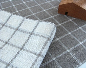 Linen Table Runner / Chequered / Cream White / Gray