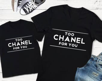Mommy and Me Designer Shirt Set, Mommy and Me Set, Mommy and Me T-Shirts, Matching Shirt Set,Too Chanel for you