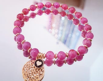 Ruby bracelet with beads in gold PL Arabesque pendant and 9 k Gold 3 microns