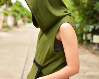 Arrow olive green and black t-shirt hoodie sleeveless