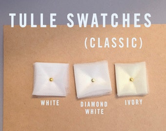 TULLE SWATCHES | sample swatches of bridal illusion tulle white, diamond white, ivory