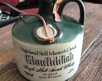 Vintage 1980s Glenfiddich Single Malt Scotch Whisky Highland Still Master's Crock, decanter, flagon, jug, does NOT contain alcohol