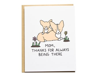 Merci Maman carte, carte de Corgi, fête des mères, anniversaire Maman, maman chien, Corgi maman